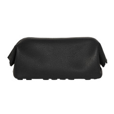 Fine leather cosmetic case in black
