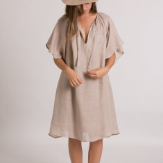 Peta Dress in Gauze Wheat