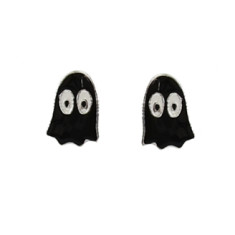 Black Ghost Sterling Silver Stud Halloween Earrings