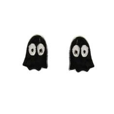 Black Ghost Sterling Silver Stud Halloween Earrings