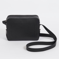 Dylan black leather crossbody bag with built in phone charger