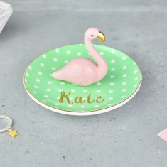 Personalised Flamingo Jewellery, Ring & Trinket Dish