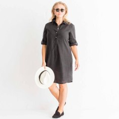 Lined Italian linen tunic in classic black