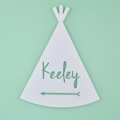 Monochrome Acrylic Personalised Kids' Teepee Bedroom Door Sign