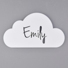 Monochrome Acrylic Personalised Kids' Cloud Bedroom Door Sign