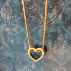 Mini gold plated heart charm necklace