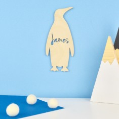 Wooden Personalised Kids' Penguin Bedroom Door Sign