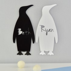 Monochrome Acrylic Personalised Kids' Penguin Bedroom Door Sign