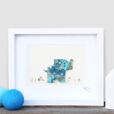 Happy Blue Elephant Framed Origami Artwork