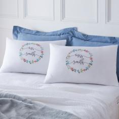 Personalised Couples Floral Pillowcases