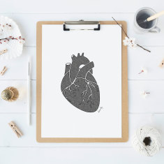 Anatomical heart drawing print