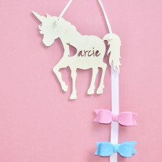 Personalised Hair Bow & Clip Holder - Unicorn