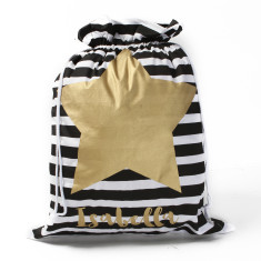 Personalised Striped Gold Star Santa sack