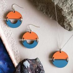 Sunrise Earrings - Burnt Orange/Dusty Blue
