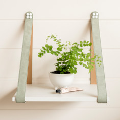 Linen + Sage Suede Leather Strap Side Table Shelf