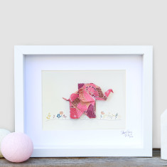 Happy Pink Elephant Framed Origami Artwork