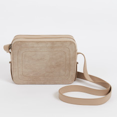 Dylan taupe leather crossbody bag with built in phone charger