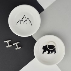 Mens Jewellery & Cufflink Dish - Mountains & Bear