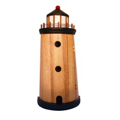Lighthouse key holder in recycled timber with a white painted feature top