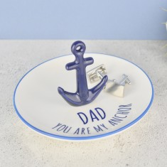 Personalised Anchor Men's Coin & Cufflinks Dish