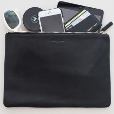 Large leather black pouch