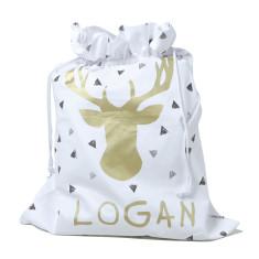 Personalised Deer Head Santa Sack Gold