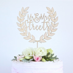 Personalised custom wreath/laurel couple's names wedding cake topper
