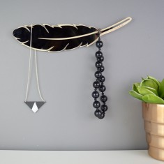 Feather Jewellery And Necklace Hanger (Black or Mirror)