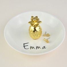 Personalised Pineapple Jewellery & Ring Dish - white & gold
