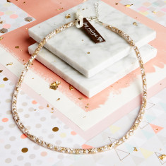 Dazzle Me - Skinny Crystal Nude Mesh Necklace