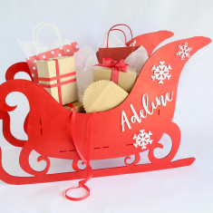 Personalised xmas santa present display sleigh