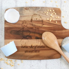 Mother's Day - Personalised with your childs drawing - wooden chopping board