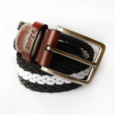 Woven elastic belt in black and white stripe