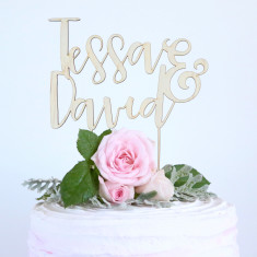 Personalised custom couple's names wedding cake topper