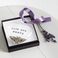 Personalised Lavender Glass Heart
