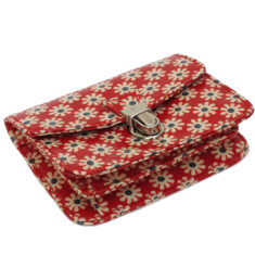 Red and blue poppy coated cotton small purse