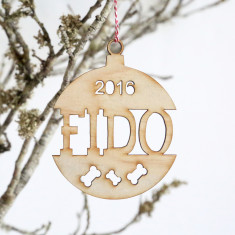 Personalised Dog Wooden Christmas tree decoration