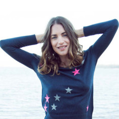 Silk Cashmere Sweater In Demin with Pink and Grey Stars