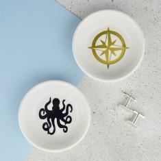 Men's Jewellery & Cufflink Dish - Octopus & Compass