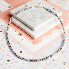Dazzle Me - Skinny Crystal Grey Mesh Necklace