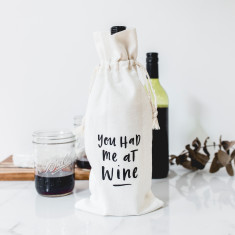 You had me at wine canvas wine bag