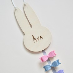 Personalised Hair Bow & Clip Holder - Bunny Rabbit