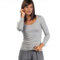 Organic pima cotton long sleeve t-shirt in pumice