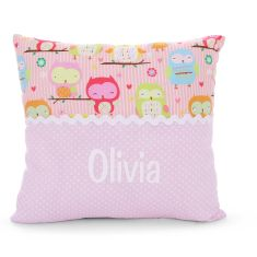 Personalised name cushion in Owl (Pink)