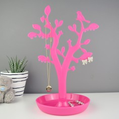 Bird jewellery stand in pink