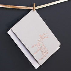 Pack Of Luxury Copper Geometric Reindeer Christmas Cards