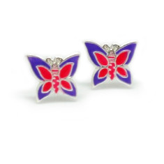 A small world stud earrings in purple butterfly