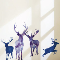 Watercolour deer family wall sticker