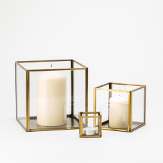 Square Brass Lanterns (Set of 3)