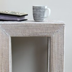 Lamp side table in white rattan